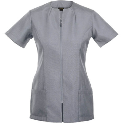 The Camilla Tunic in the colour silver is made from polyester stretch fabric with a open end nylon zip, side slits, short sleeves, darts on the neckline, side patch pockets on the hem and a shaped waist.
