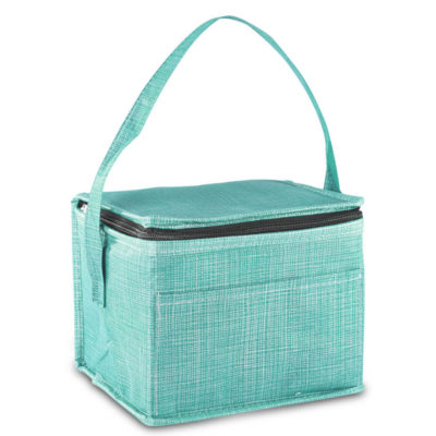A turquoise Synchro 6 Can Cooler