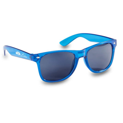 The Kelly Sunglasses have a see-through frame as well as the lenses having built in UV400 protection, frame in blue.
