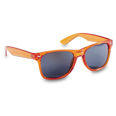 The Kelly Sunglasses have a see-through frame as well as the lenses having built in UV400 protection, frame in Orange.