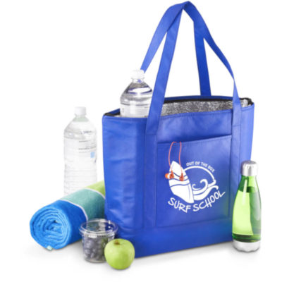 The Orca Cooler Bag is made from a non-woven fabric with an aluminium foil lining, the cooler bag comes in Blue.