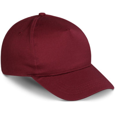 The Piccolo Kids Cap is a cotton twill maroon cap with 5 panels and a velcro closure