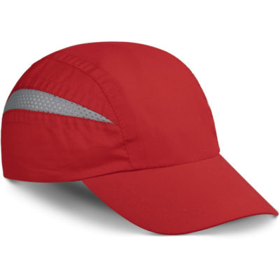 The olympic Cap in red with grey mesh insert, 7 panels and velcro closure. Unstructured