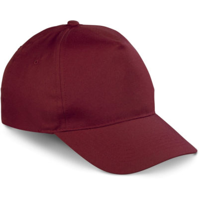 The Brooklyn 5 Panel Peak is a maroon 5 panel structured peak with 6 rows of stitching and 4 embroidered eyelets. Velcro strap