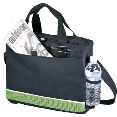 The Conference Bag with Mesh Side Pocket in black with green mesh accents. Includes carry handles, shoulder strap, front pocket and a main compartment