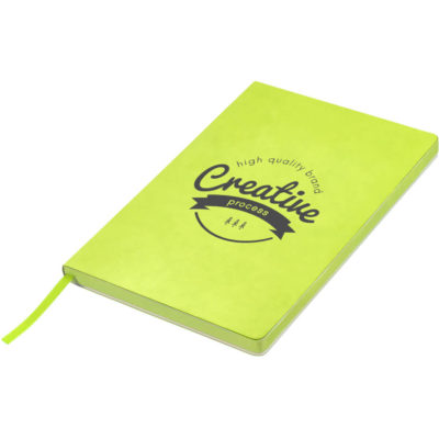 The lime green Ragan A5 Soft Cover Notebook has about 160 cream-coloured lined pages with a thread-sewn binding and a ribbon bookmarker