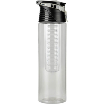 The 700ml AS Fruit Infuser Water Bottle With Carry Handle Clear with a black screw on lid