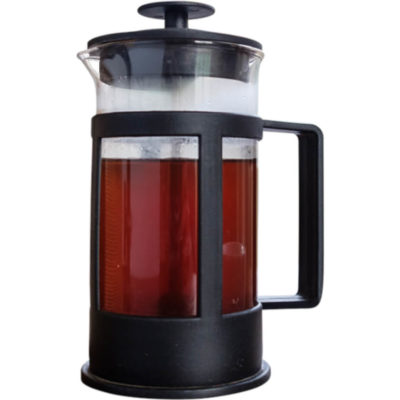 The Coffee Plunger is a 350ml capacity glass jar with a stainless steel plunger and plastic frame/handle
