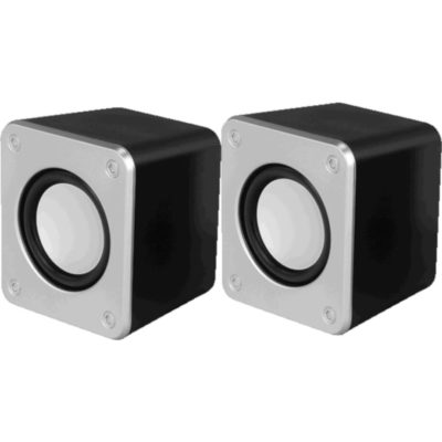 The Compact Desktop Speaker in silver and black plastic. Square in shape