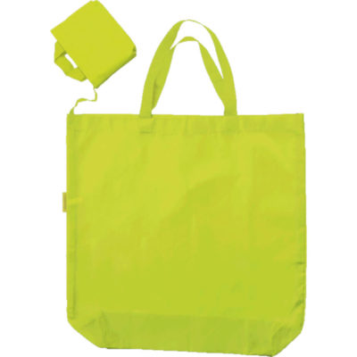 The Foldable Shopper In Carry Bag is made from Oxford fabric, contains a shopper bag with carry handles and is compact when folded. Colour: Lime - Display Picture