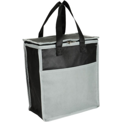 The 16 Can Cooler With Front Pocket - Non-Woven is a cooler bag with a zip closure designed to keep your food fresh. Colour: Grey