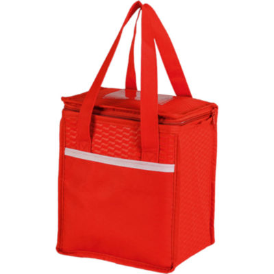 The Wave Design Lunch Cooler - Non-Woven is covered in a wave design material, has a ID window, a front pocket and a main zippered compartment, is fully insulated and has a carry handle. Colour: Red