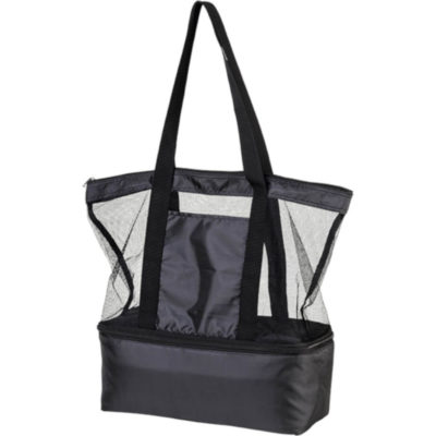 The Tote Bag With Cooler Compartment is made up of a polyester material, also containing a PEVA lining ensuring your food items are kept cool, has a main zippered compartment with mesh panels, a bottom zippered cooler compartment with inner mesh pocket, carry handles as well as a small front pocket. Colour: Black