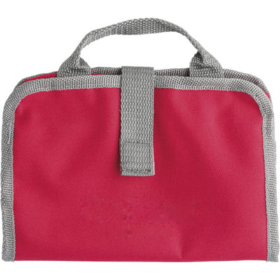 The Toiletry Bag with Dual Zippered Compartments is made from a polyester material, has a carry handle, a zippered mesh pocket, a large transparent zippered compartmet and can be used for any of your toiletry or makeup needs. Colour: Black - Open View Display Picture Example