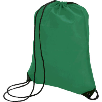 The Drawstring Bag With Black Corners is made from a 210D polyester material, has a main compartment with a clinch top, a drawstring design for over the shoulder or to carry as a backpack, solid black corners. Carry Bag. Drawstring. Bag Colour: Green - Closed Display Image for Example.