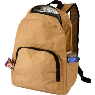 The Laminated Paper Backpack Cooler Display with side pouches, front and main zippered compartment