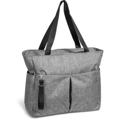 The Santa Monica Deluxe Multi-Purpose Tote Front to display the removable wrist strap, shoulder straps, side pouches and zip