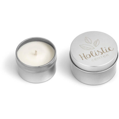 the Twilight Candle in a circluar metal tin and 35g of vanilla scented candle wax