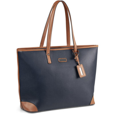 The Lexi Ladies Laptop Bag in nazy with an interior zippered pocket and brownd etailing on the shoulder strap and corners