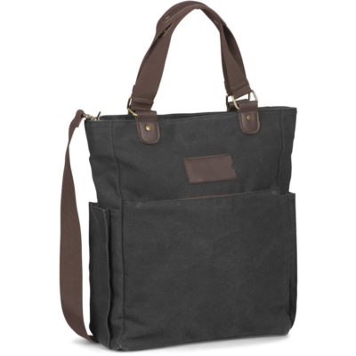 The Hamilton Canvas Laptop Bag is a PU and pongee lining tote with a concealed front pocket and an adjustable, removable shoulder strap