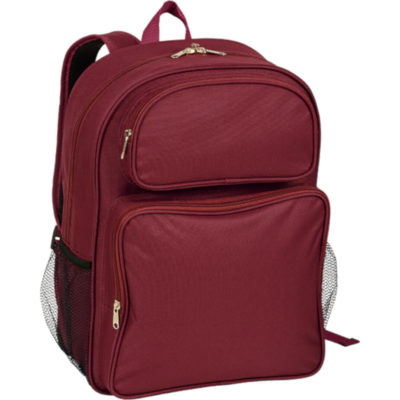 The Senior Classic School Backpack made from a polyester material with polyester lining and has two front zippered compartments, a main zippered compartment, a padded back, padded adjustable shoulder straps, side mesh pockets, imterlocking zip pullers and a carry handle. Colour: Burgundy