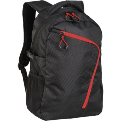 The Backpack With Curved Contrast Zip in Black Red
