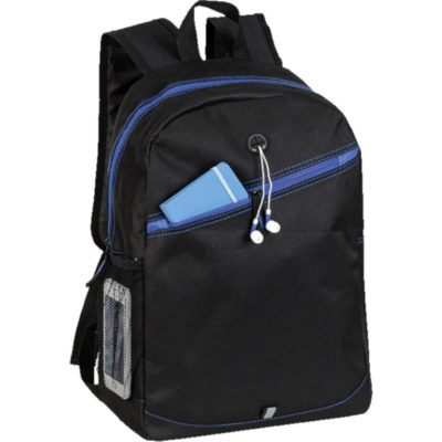 The Backpack With Contrast Colour Diagonal Zip has a main zippered compartment, a front diagonal zippered compartment, a laptop sleeve, a mesh side pocket and a media hole for your headphones/earphones. This bag has adjustable shoulder straps, a carry handle and to top it off it has coloured trims in the seams. Colour: Blue