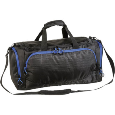 The Sports Bag With Curved Contrast Zip in Black Royal