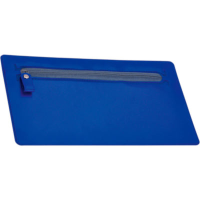 The PVC Pencil Case is rectangular shaped with a main zippered compartment on the front and comes in blue.