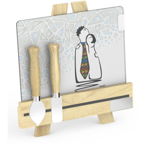 Andy Cartwright Palette L Artiste Cheese Set Mr Mrs glass cheese plate and a wooden easel stand. two cheese knives with wooden handles
