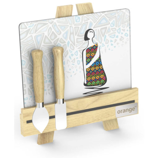 Andy Cartwright Palette L Artiste Cheese Set Lady glass cheese plate and a wooden easel stand. two cheese knives with wooden handles