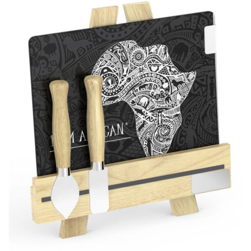 Andy Cartwright Palette L Artiste Cheese Set Africa glass cheese plate and a wooden easel stand. two cheese knives with wooden handles
