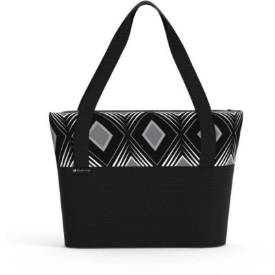 The Andy Cartwright Geo Conference Tote in black with a contrasting white and black stripe design