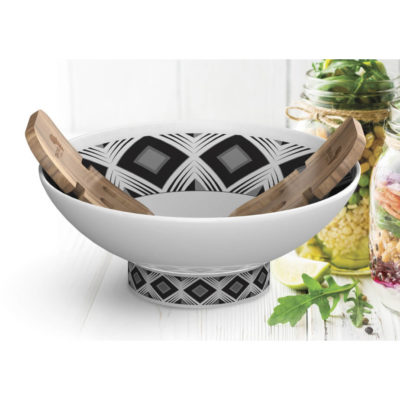 The Andy Cartwright Geo Salad Set that shows the procelain bowl and acacia wood salad claws