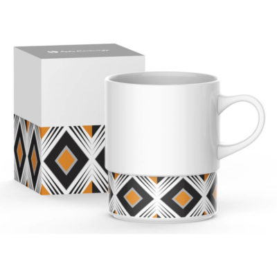 The Andy Cartwright Geo Coffee Mug with a black and white stripe design and orange detail in a box with matching detail