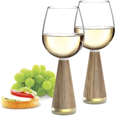 The Andy Cartwright Afrique Wine Glasses made from glass with a 500ml capacity each, acacia wood stems and gold plated zinc alloy trim