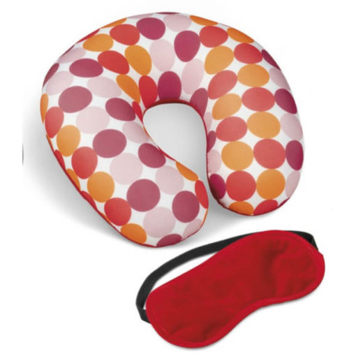 The Kooshty Kazoo Travel Set red polyester, plush & spandex neck cushion and eye mask