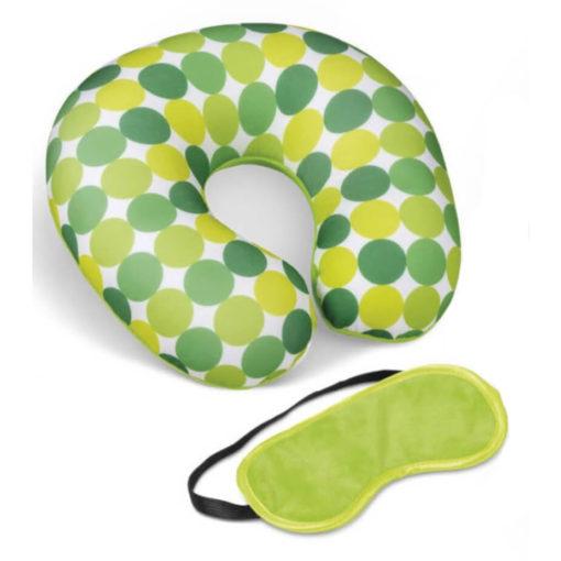The Kooshty Kazoo Travel Set lime green polyester, plush & spandex neck cushion and eye mask