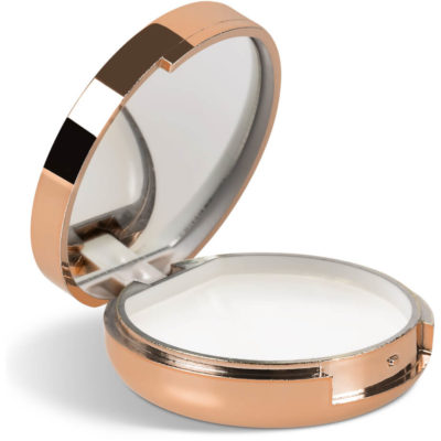 The Glamourette Mirror & Lip Balm Rose Gold open to display the mirror and lip balm