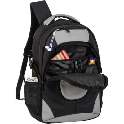 The Exclusive Padded Laptop Backpack in black and charcoal