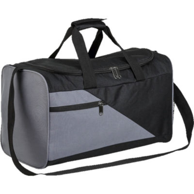 The Diagonal Panel Sports Bag in Charcoal & Black