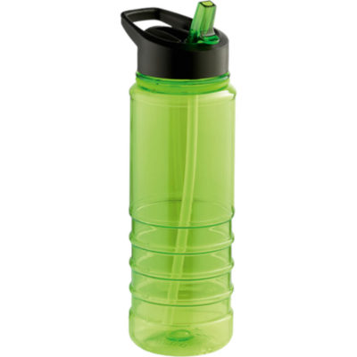 The 750ml Solid Coloured Tritan Bottle With Straw is a plastic green bottle with matching colour flip up drinking draw and a black screw on lid with intergrated carry handle