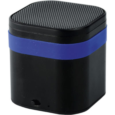 The Bluetooth Speaker With Coloured Silicone Band is a black ABS square speaker with a blue silicone band
