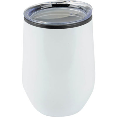 The 350ml Plastic Teardrop Design Tumbler in white with a clear plastic lid. Tear drop design