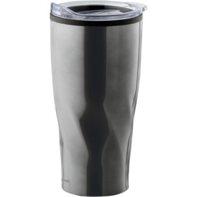 The 600ml Swirl Design Travel Mug with a gunmetal stainless steel outer and a clear plastic fitted lid with thumb slide locking function