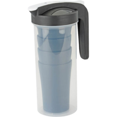 The Jug With 4 Cups is a plastic drinkware set that has 4 cups and can fit into the 1L jug for easy storage