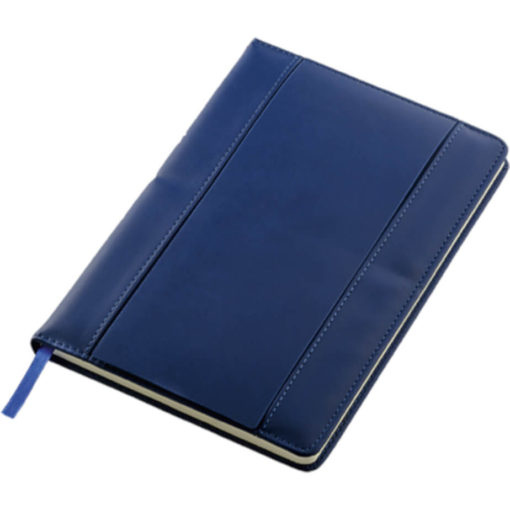 The A5 PU Notebook With Flip Up Front Panel is a blue PU cover notebook with a flip up front panel that has two card holders and an ID window. The notebook has 80 lines sheets and a blue ribbon bookmark