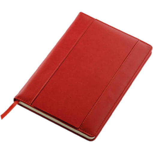 The A5 PU Notebook With Flip Up Front Panel is a red PU cover notebook with a flip up front panel that has two card holders and an ID window. The notebook has 80 lines sheets and a red ribbon bookmark