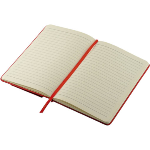 The A5 PU Notebook With Flip Up Front Panel Notebook open to display the 80 page lined notebook
