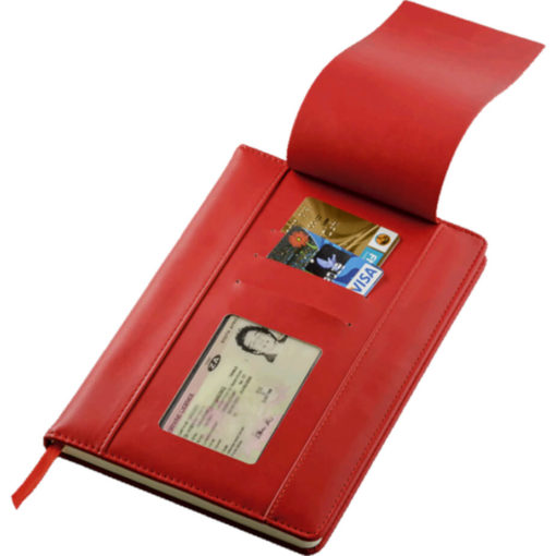 The A5 PU Notebook With Flip Up Front Panel is a red PU cover notebook with a flip up front panel that has two card holders and an ID window